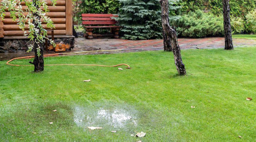 Rainwater buildup in a yard requiring drainage work